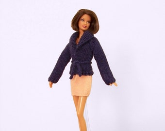 Fashion Doll Sweater, Hand Knit Doll Sweater, Navy Blue Doll Sweater, Knit Doll Clothes, Knit Doll Jacket, Wrapped Fashion Doll Sweater
