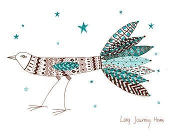 Original bird art, Original ink illustration of bird, Children's wall decor, Colored ink drawing, Nursery wall art, Bird art