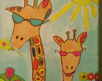 Giraffes on Vacation . Giraffe Original Wildlife Art Painting. Wall Home Decor Art . Small Painting. Vibrant Colors. Nursery Painting. Gift.