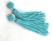 Beaded tassel earrings - clip on earrings turquoise wedding- statement seed beads earrings- long tassle earrings- bridesmaid  jewelry
