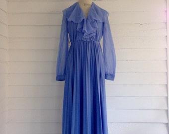 Vintage 1970s PERIWINKLE Floor-Length Flowing Formal Dress w Sheer Sleeves, Ruffled Neck