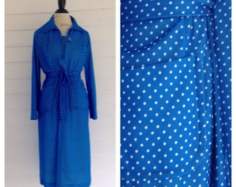 Vintage SKY Blue POLKA DOT 70s Dress w Matching Belt