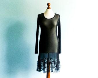Vintage Sheer Dress Black / See Through / Lace Lacy / Long Sleeve / Midi Length / small medium