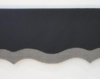 Black Custom Window Valance  Black Cream Check Band Trim Rod Pocket Home Decor *READY TO SHIP*
