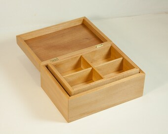 Jewelry box crafted of sycamore with removable tray