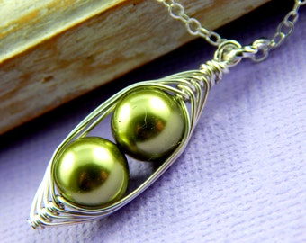 Two Peas In A Pod Silver Pendant Necklace For Two Special  People Green 8mm Swarovski Pearls. For Brides,Friends,Sisters And Mothers.