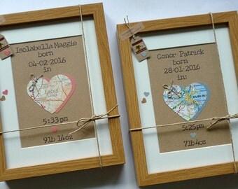 The Map of New Life - New Baby Bespoke Map Heart - Newborn Baby Girl Boy Framed Wall Art  - Handmade in Ireland