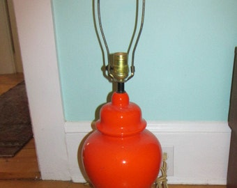 Bright Orange 1970s Ceramic Table Lamp Gloss Glaze Ginger Jar Form Working