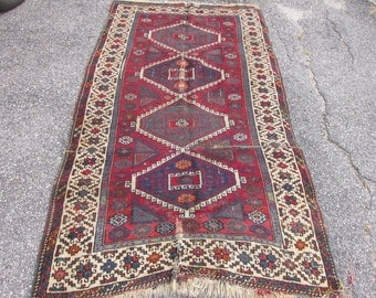 "Antique 100 years old Turkish Kazak Style Wide Runner area Carpet Oriental Rug Handmade 4'2"" by 8'2"" Worn Condition Great Color"