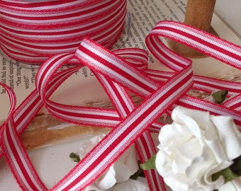 2 yards of little striped grosgrain red and cream perfect holiday ribbon