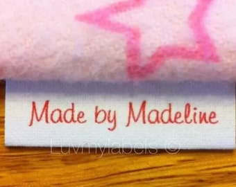Fold sewing label 70 precut frayless, custom loop fold sewing labels in any ink color