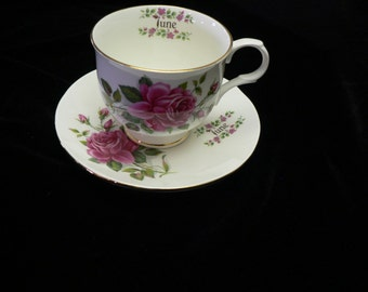 "Sadler Wellington Fine Bone China Cup and Saucer"" June"" Rose Decor"