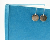 Funny Earrings - Sterling Silver Disc Earrings with Parentheses for Writer, English Teacher Gift