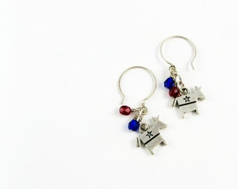 Patriotic Earrings (2016 Election Jewelry for Democrat in USA) - Limited Edition - Sterling Silver Earrings