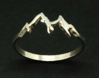 Sterling Silver Mountain Range Ring - Mountain Biking, Nature Motivation Jewelry, Mountain Climber Gift, Mountain Peak Ring Jewellery Summer