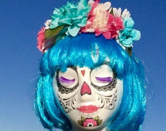 Pink blue white rose flower crown Day of the Dead Costume,Rainbow flower Headband, Rose Crown Mexican headpiece floral crown,Frida Kahlo cro