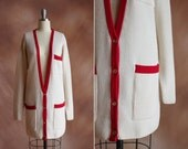 vintage 1980's cream & red ribbed wool knit oversized long cardigan dress / size s