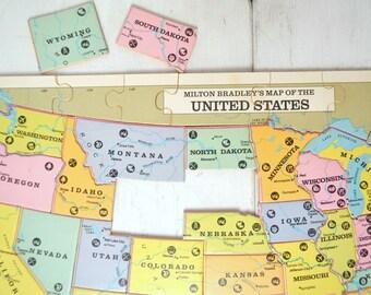 US Puzzle Map Milton Bradley Wooden Reversible World Map Vintage 1980s Complete Travelers Decor