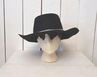 Black Wool Felt Hat - Boho Gypsy Cowboy Style - 1980s Vintage Lanning Silver Stud Hat - Large - Size 7 3/8