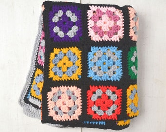 Granny Square Blanket - Black Multicolored Retro 1960s Afghan - Vintage Crochet Throw Blanket - 63 x 51 Inches