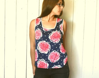 Floral Smock Tank Top 1960s Polka Dot Rose Print Vintage Hippie Boho Blouse Medium