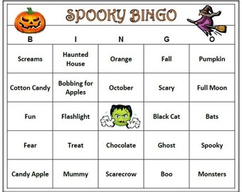 Halloween Bingo - Fun and Easy to Play! Celebrate your Halloween Party with a fun Spooky Holiday Bingo Game!