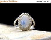 WINTER SALE - Rainbow Moonstone ring,silver ring,unique ring,rainbow ring,birthday gift,faceted oval ring,gemstone ring
