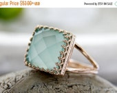 SUMMER SALE - Aqua Chalcedony Ring,14k rose gold filled ring,rose gold ring,pink gold ring,feminine ring,delicate ring