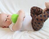 SALE Brown, Tan, Navy, Blue, Triangle, Geometric Baby Boy, Girl, Unisex Knit Leggings Pants