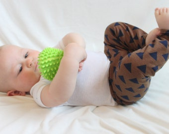 SALE Brown, Tan, Navy, Blue, Triangle, Geometric Baby Boy, Girl, Unisex Knit Leggings Pants