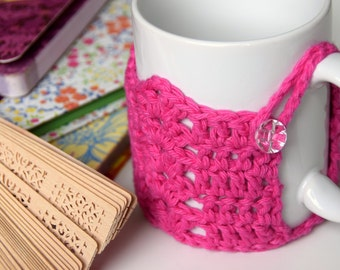 Hot Pink Scalloped Mug Cozy with Cut Glass Button