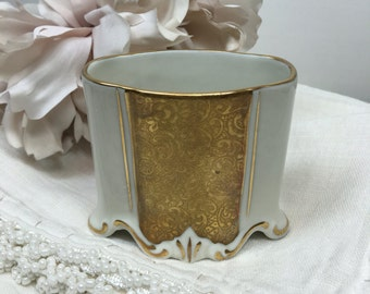 ALKA Bavaria Marion Cigarette / Toothpick Holder Vintage White Porcelain & Paisley Gold Gilt Tooth Pick Container - #A2101
