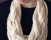 Cord of Three Strands Chunky Knit Scarf Loop Infinty Crochet Neckwarmer Neckware Vintage Handmade