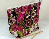 Knitting Project Bag - Medium Zipper Wedge Bag in Purple Paisley Fabric with Purple and Silver Polka Dot Cotton Lining