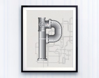 Letter Prints, Personalised wall decor, mechanical print, Industrial prints, boys letters, Typography decor, Wall Letter Decor, toddler boys