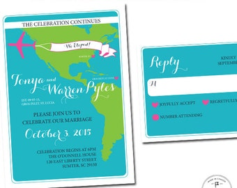 Reception Invitation for Following a Destination Wedding, The Celebration Continues, At Home Celebration, We Eloped, Tropical Color
