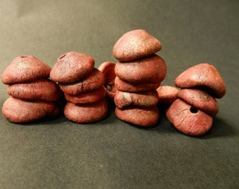 8 Stoneware pottery  bead pods, bead caps. rustic primitive earthy organic…radical pink, dirty black, bits of rutile…..copper patina #1961.