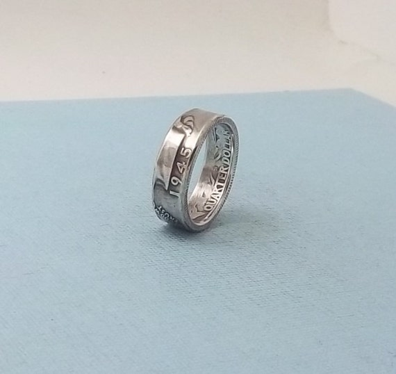 silver coin ring washington quarter year 1945 size 8 by