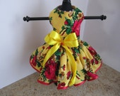 Dog Dress  XS Yellow with Red Flowers and Trim  By Nina's Couture Closet