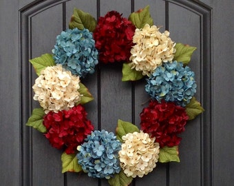 Hydrangea Spring Wreath Summer Wreath Grapevine Door Wreath Red Turquoise Blue Cream Hydrangea Floral Door Decoration Indoor Outdoor Decor