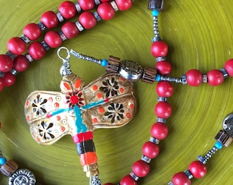 Red Wooden Catholic Rosary 5-Decade