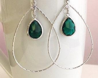 Silver Green Earrings. Silver Crystal Earrings. Crystal Clear Earrings. Bridal Earrings.Green Bridesmaids.Bridal Gift.Delicate.Emerald Green