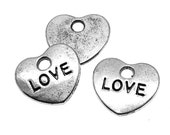 Silver Charms : 10 Antique Silver Heart LOVE Charms | Silver Stamped LOVE Hearts -- Lead, Nickel & Cadmium Free J4J