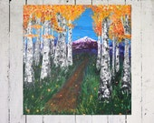 36x36 Original Large Room Art-Aspen/Birch Tree Mountain Trail Scene