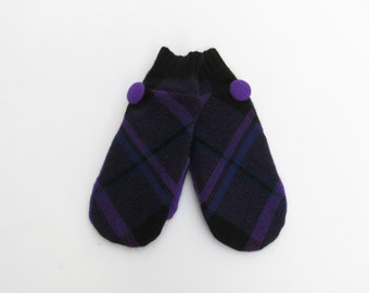 Wool Mittens Fleece Lined Black Purple and Cobalt Plaid Felted Wool Sweater Mittens