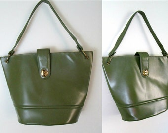 Mid Century Olive Green Handbag 1960s Mod Ladies Vegan Vinyl Accessory