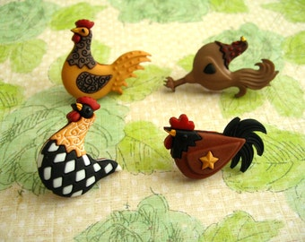 Rooster Chicken Thumbtack, Rooster Push Pin, Farmer Notice Board Pins, Chicken Decoration