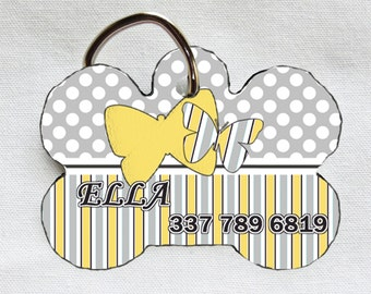 Custom Pet ID Tag - Butterfly - Grey and Yellow - Personalized - Pet Safety