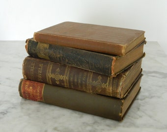 Shabby Antique Book Collection. Victorian Library. Tattered. Cottage Decor. Book bundle. Farmhouse.