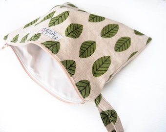 Choose Your Size! Zippered Wet Bag Pouch / Nappy Wallet / Diaper Case / Makeup Bag with Waterproof Lining  - Linen Leaves